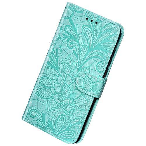 Herbests Kompatibel mit Huawei Mate 30 Pro Hülle Leder Wallet Handyhülle 3D Spitze Henna Mandala Blume Muster Tasche Case Schutzhülle Klappbar Lederhülle Magnetisch Etui mit Kartenfach,Grün