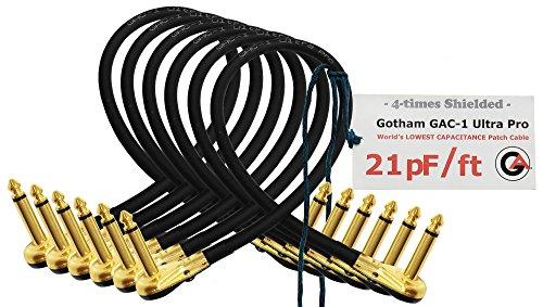 6Einheiten–Gotham gac-1Ultra Pro–2Fuß (60cm)–low-cap (21PF/FT) Gitarre Bass Effekte Instrument, Patch Kabel mit vergoldeten, Low-Profile, rechts abgewinkelt Pancake Typ TS (6,35mm) Anschlüsse