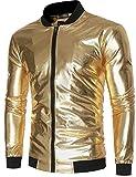 Sportides Herren Metallic Nightclub Shiny Slim Fit Varsity Baseball Bomber Zip Up Jacket JZA147 Gold L