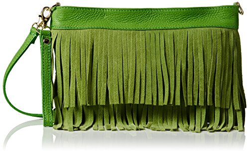 Girly Handbags Damen Gina Umhängetaschen, Green (Light Green), One Size (Handtasche Hobo Fringe)