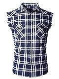SOOPO Herren Ärmellose Kariert Flanell Hemden Freizeithemd aus Baumwolle Sleeveless T-Shirt(Marine&weiß,M)