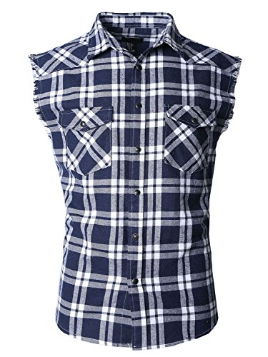 SOOPO Herren Ärmellose Kariert Flanell Hemden Freizeithemd aus Baumwolle Sleeveless T-Shirt(Marine&weiß,2XL) (Patch-Ärmelloses T-shirt)
