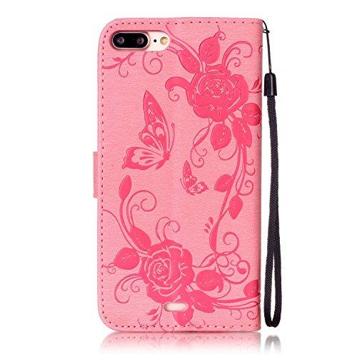 iPhone Case Cover IPhone 7 plus Cover, papillon fleurs en relief en cuir synthétique étui portefeuille avec sangle de main pour IPhone 7 Plus ( Color : Brown , Size : IPhone 7 Plus ) Pink
