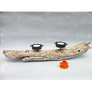 Treibholz Teelicht-Halter Keramik, Treibholz-Deko, Tisch-Deko, Wohn-Deko, Schwemmholz Teelicht-Ständer, Kerzen-Halter, Kerzenständer, Wohn-Accessoire ca. 50 x 7 x 9 cm, Handarbeit