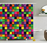 JAMES STRAIN Abstract Shower Curtain, Geometric Square Shaped Lines in Several Colors TV Style Digital Illustration, Fabric Bathroom Decor Set with Hooks, 75 inches Long, Multicolor