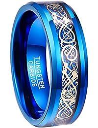 Nuncad Bague Femme/Homme Blue + Dragon Celtique Plaqué Or avec Fibre de Carbone Bleue, Bague Unisexe en Tungstène 8mm pour Mariage, Fiançailles, Quotidien et Mode, Taille 52 à 72 (12-32)