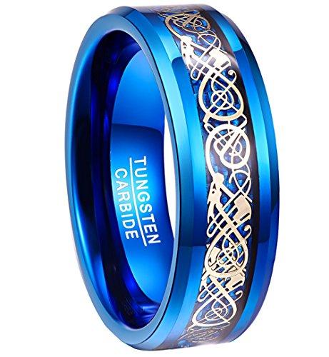 Nuncad uomo 8mm blu in carburo di tungsteno anello placcato oro celtica dragons blue carburo fibra, misura: ½ -x ½ e carburo di tungsteno, 33, cod. 0014r14