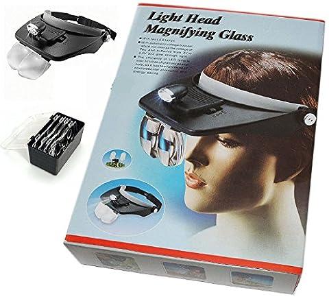 2 LED Magnifying Visor Hat LED Head Loupe Headband Torch 4 Lens NEW (Glass Hat)