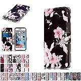 LA-Otter Coque Apple iPhone 5 5S Se Fleurs Noires Marbre Flip Case Housse Etui à...
