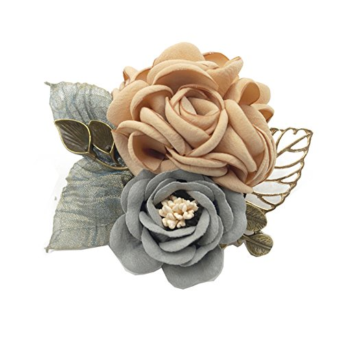 Blumen Brosche mit Clip Kleidung Zubehör Pin für Frauen, Champagner (Cameo-pins Und Broschen)