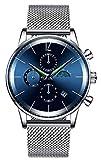 BHGWR BHGWR Analoge Quarzuhr für Herren, 30M wasserdicht Armbanduhr für Männer mit Datumsanzeige und Stoppuhr, Silber Uhren mit Edelstahl Mesh Armband für Herren