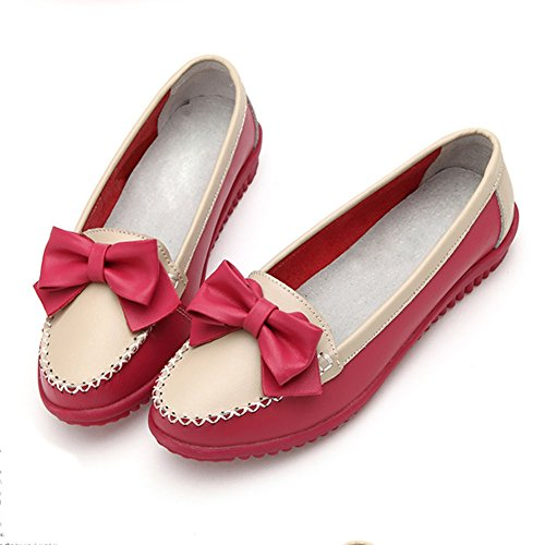 Frestepvie Mocassins Ballerines Plate Mode Simple Chaussure Femme Chic Confortable Elégant Bateau Casual Espadrilles Mary Janes red
