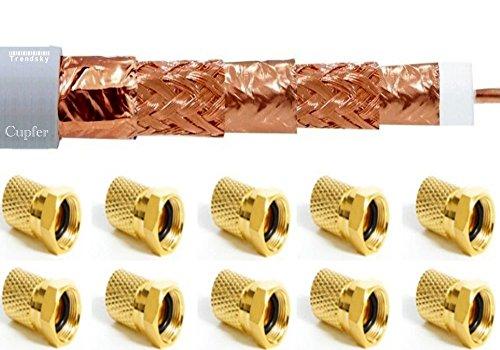 +20 F-Stecker Gratis] VOLL-KUPFER 100m 135db SAT Satelliten Digital 8mm Kabel auf Spule Antennen Cupfer Koaxialkabel für FULL HD/3D/TV/4K/8K/UHD und Weiteres.. Isolation Sat-tv