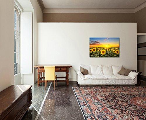 Paul Sinus Art 120x80cm – WANDBILD Sonnenblumen Sonnenuntergang Himmel – Leinwandbild auf Keilrahmen modern stilvoll – Bilder und Dekoration