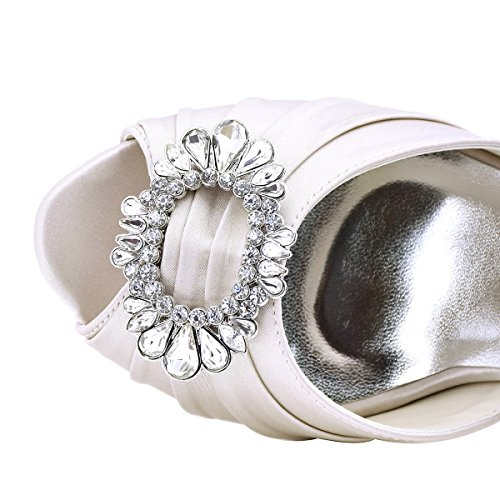 ElegantPark A2136 Escarpins Satin Bout ouvert Diamant Bloc Boucle Chaussures de mariee soiree Beige