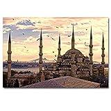 taoyuemaoyi Turquía Estambul Sultán Ahmet Mezquita Ciudad Imagen Impreso Lienzo Tela Arte De La Pared Pintura del Cartel para La Decoración De La Habitación 40 * 60 Cm