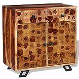 Xingshuoonline Schrank aus Massivholz Sheesham 65 x 35 x 65 cm Küchenschränke mit 2 Türen