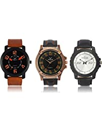 Victance Analogue Multi-Color Dial Leather Strap Water Resistant Combo Watch For Boy's & Men's(Pack Of 3)Vl202338