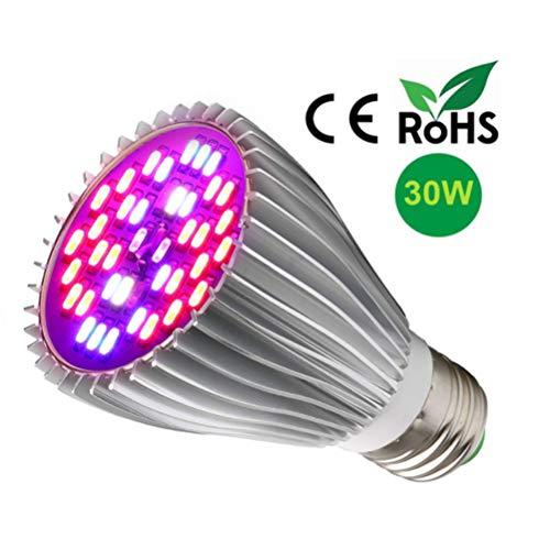 30W LED Pflanzenlampe, E27 Wachsen Glühbirne Vollspektrum Pflanzenlicht Led Wachsen Licht Lampe für Zimmerpflanzen, Gartengewächshaus Blüte, Blumen und Gemüse Wachstum
