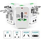 AlexVyan Universal International World Wide Travel Power Plug, European Adapter, Worldwide AC Outlet Plugs Adapters For Europe, UK, US, AU, Asia - White (Pack Of 1)