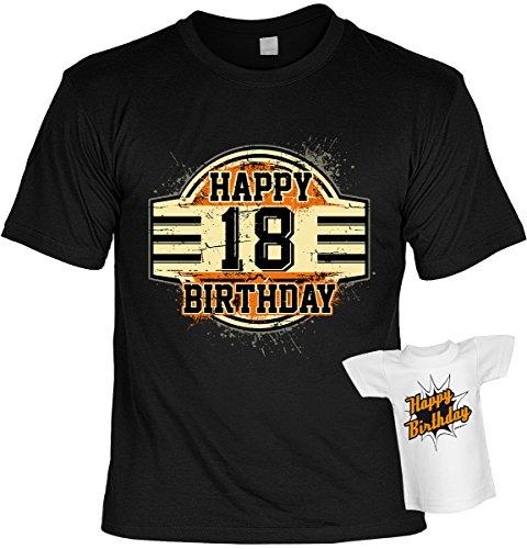 T-Shirt zum Geburtstag - Happy 18 Birthday - Im SET mit gratis Mini Shirt - Geschenk - 18. Geburtstag - schwarz Schwarz