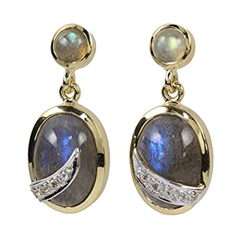 8 Carat 333 Yellow Gold Women's Pendant Earrings Labradorite Topaz White