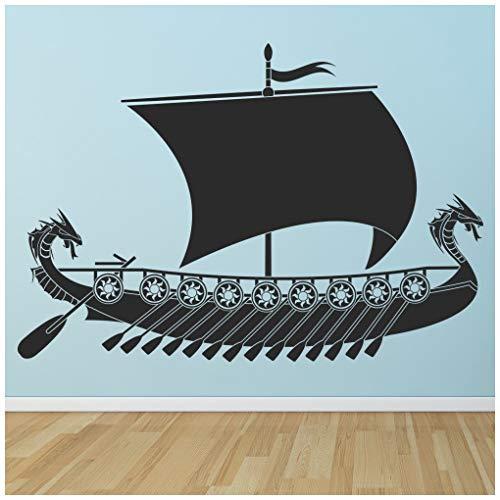 azutura Barco vikingo Vinilos Acorazado Pegatina Decorativos Pared Chicos Dormitorio Decoración disponible en 5 tamaños y 25 colores X-Grande Negro