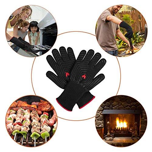 51oEaS14RuL - Feuerhandschuhe,Grillhandschuhe Feuerfest,Ofenhandschuhe,Grillhandschuhe Hitzebeständig,Grillzubehör Handschuhe mit Einer Grillschürze