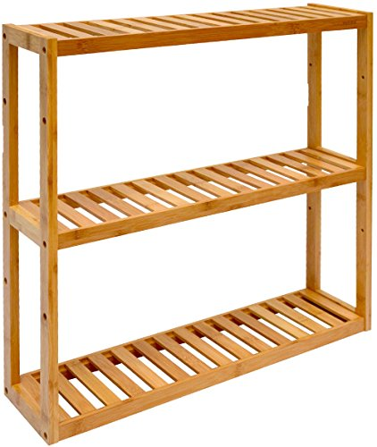 dunedesign Wandregal 54x60x15cm Bambus Bad-Regal 3 Fächer Holz Ablage Badezimmer Hängeregal Aufbewahrung Küche (5-regal Bücherregal Schmal)