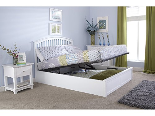 Right Deals UK Como Wooden Ottoman Storage Bed - Oak White - 4ft6 Double 5ft Kingsize (White, Double 4ft6)