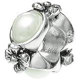 925Sterling Silber Rund Blume Ring Spacer Bead Abstandhalter mit simulierten Kristall Perle für europäische Charm-Armbänder
