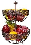 Dongjiang Roselife Metall Obstkorb, Mehrschichtige Obstkorb,2 LayerObstkorb,Obstschale,Schüssel Silber,obstschale,Obst Stander,obsthalter, Bronze