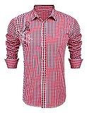 Burlady Hemd Herren Kariert Langarm Trachtenhemd Karohemd Stickereien Freizeit Männer Shirt (XXL, Rot-T)
