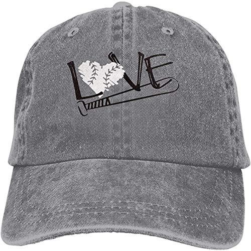 Unisex-Baseballmütze Baseball Love Cotton Denim Flat Hat Einstellbare Fashion Sports Cap Grau