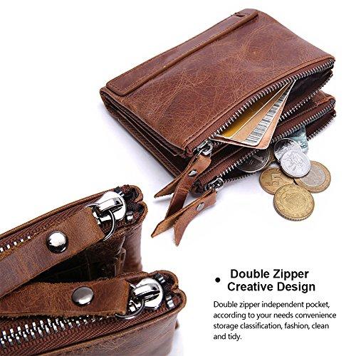 VECHOO Premium echtem Rindsleder Geldbörse mit RFID Schutz, Vintage Bifold Geldbeutel Doppelreißverschluss Portemonnaie mit Kreditkarte Halter(Braun) - 4