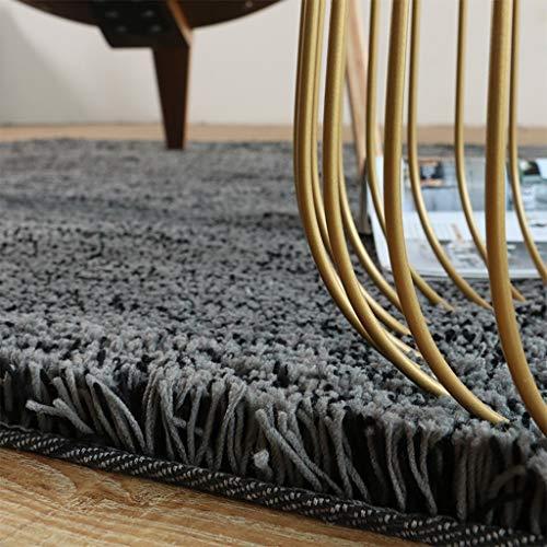 Clothes UK- Moderner minimalistischer Teppich-weicher Shag-Haufen-Normallack-Bereich-Wolldecken-Wohnzimmer-Erker-Fenster-Bettdecke Teppich (Farbe : SCHWARZ, größe : 120 * 170cm) -