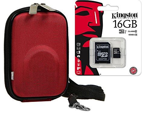 Foto Kamera Tasche YOUR BOX rot Set mit 16GB SDHC Speicherkarte für für SONY DSC- RX100 CyberShot DSC W830 WX350 / Canon IXUS 285 275 HS 180 175 / Panasonic Lumix DMC SZ10 / NIKON COOLPIX A300 A10