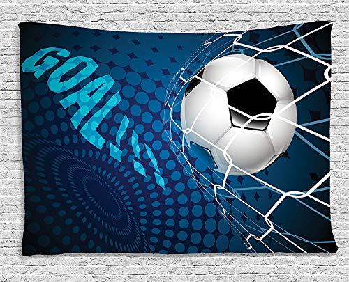 MLNHY Soccer Tapestry, Goal Football Flying into Net Abstract Dots Pattern Background European Sport, Wall Hanging for Bedroom Living Room Dorm, 80 W X 60 L Inches, Blue Black White