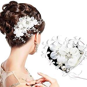 Braut Haarschmuck Hochzeit – ARPDJK 12.5cm x 6cm Vintage Strass Haarkamm für Braut und Brautjungfer, Tüll Blumen Perlen Brautschmuck Haare für Hochzeit, Silber