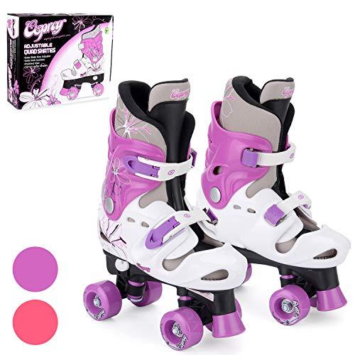 Osprey Roller Skates für Mädchen - klassische, zweispurige Rollschuhe für Anfänger - größenverstellbare, bequeme Rollerblades mit verstellbaren Schuhschnallen - sicheres Design für Kinder - Violett
