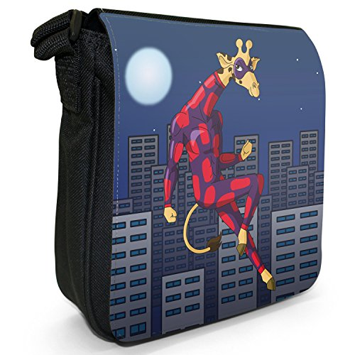 Superhero Action Hero Animals-Borsa a tracolla in tela, piccola, colore: nero, taglia: S Giraffe In Stealth Hero Suit