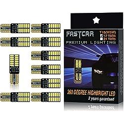 Fastcar Lot de 10ampoules à LED avec système Canbus, culot T10 et 24LED SMD4014 pour feux de gabarit, lampe de lecture ou éclairage de portière Blanc pu 6000K 350lm 12V CC 5W