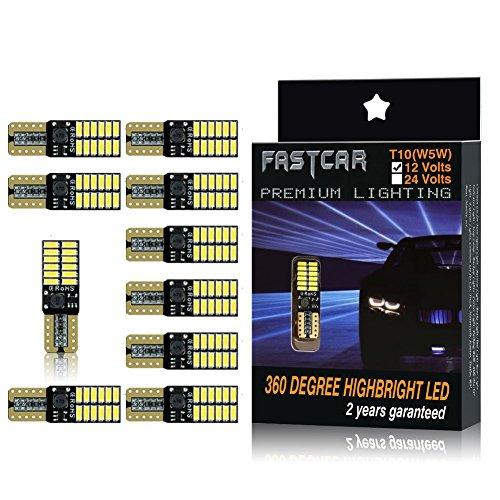 Fastcar 10pcs 194 W5W T10 led canbus no error cuneo lampadine 24 leds 4014SMD Luci di posizione Piastra lampada auto Gioca Car interno 6000k 12V (Bianca)