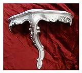 Lnxp Mini Wandkonsole Wandregal Wandboard Konsole Hängekonsole Ablage Regal mit Ornamente Verzierungen 23,5x10x18cm Antik Barock Repro Rokoko Vintage Shabby in Weiß/Silber Dualcolor