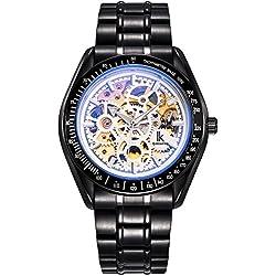 Alienwork IK mechanische Automatik Armbanduhr Skelett Automatikuhr Uhr Leuchtzifferblatt weiss schwarz Metall 98545GH-G-02