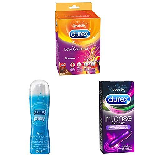 Durex Love Collection Kondome, bunter Mix-Pack für mehr Abwechslung, 31er (1 x 31 Stück) + Play Feel Gleitgel, 1er Pack (1 x 50 ml) + Intense Delight, Minivibrator für sinnliche Stimulation, 1 Stück