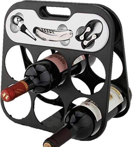 RTA 6Flasche Counter Top Schwarz Wine Rack mit Korkenzieher Wein Stopper und Kapselabschneider (Weinregal Top)