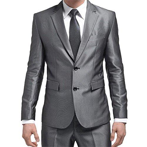 Herren Business Anzug 2-Knopf-Anzugjacke Hochzeit Weste mit Anzughose (Mit Zwei-knopf-anzug Einreiher)