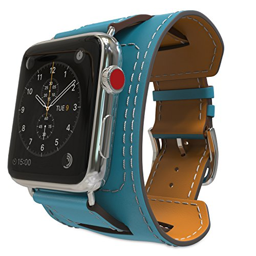MoKo Armband für Apple Watch 42mm Series 3 / 2 / 1, Cuff Lederarmband Wrist Band Uhrband Uhrenarmband Erstatzband mit Schnalle und Mentallschließe für Apple Watch Nike+ 42mm 2017, Pfau Blau