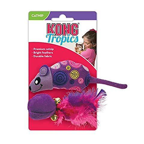 Kong Tropics Mouse Ball Feathers Durable Interactive Fun Play Cat Toy Catnip 2Pk